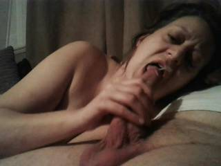 Most going over my face but some cum going straight down my throat