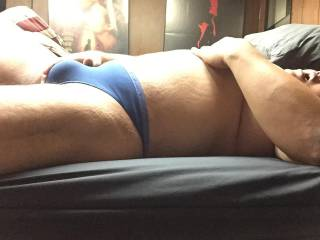 Blue thong bulge