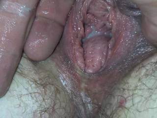 Kiki's Beautiful gaping cum filled pussy hole right as I got done fisting her.