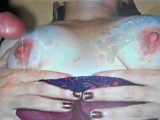Stroking my hard cock and cumming on SweetT's Old real tits! Love her new one's but would not mind sucking her old one's! Thanks for the cock tribute pics!!!