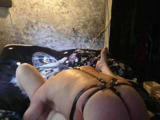 In a 69 position with my head (in my favorite place to put my face) inbetween her creamy  spread thighs along with my cock down her throat. If this isn't heaven then it's closest places to paradise both my head's could imagine.
