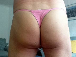 little pink thong from the back
