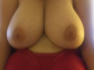 She kinda pushed them together and said she\'d love to have a hard dick shoved between them. Any takers??