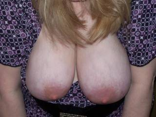 I WISH I COULD FUCK THOSE BIG TITS !!! I WANNA CUM ALL OVER THOSE TITS, &  THEN HAVE MY WIFE LICK YOU CLEAN !!!!