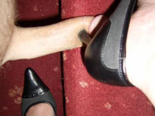 Nothing like a cock massage from a sexy woman in high heels...
