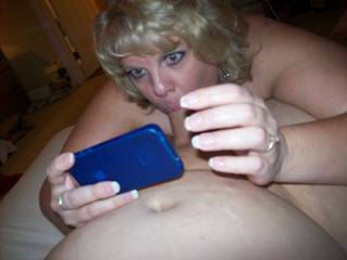 Love the wedding ring in the photo, and imaging her mouth & pussy lips around my cock.
