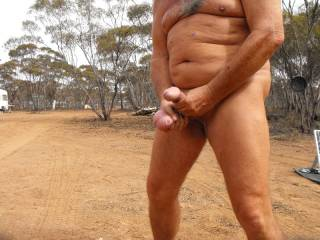 working my cock and balls in the great outdoors.....love outdoor action. do you?