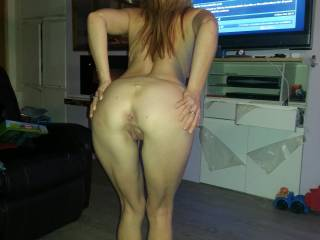Spreading my cheeks for a little show off. I hope you like this view as I love showing off for you to see.