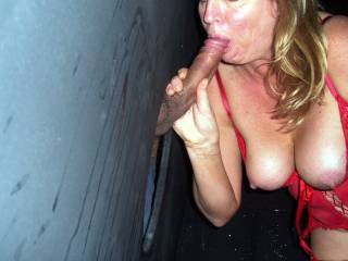 At last living up to your name! I'm right in line to have your sucky mouth make me cum all over your gorgeous tits.