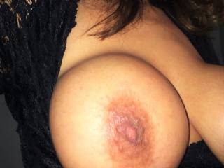 Can never get enough view of juggs or enough sex, Beautiful big tit with interesting areola and nipples needs lots of sucking