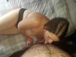 sucking hubby rock hard dick yummy any ladies want to help