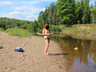 Going with our series theme, can you name this river. Over the last several years, we have had many fun times in the U.P. and have taken lots of pics to remember it by.  The story here is, I love to fish and I love to get naked outdoors.  More to CUM.