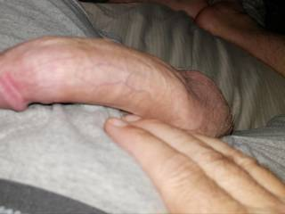 Laying in bed waiting to cum