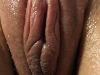 close-up of her lovely cunt before opening her up