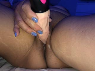She plays with her wet horny cunt