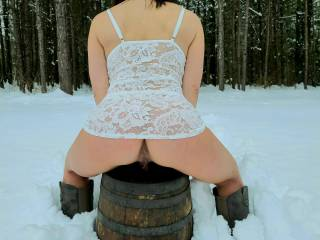 Had to take a few pics in snow of my wife\'s lil tight asshole bf I buttfucked her