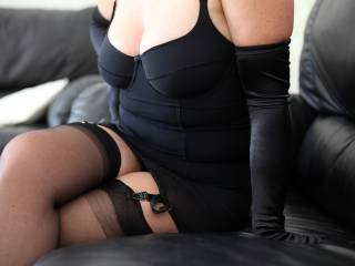 With a black all in one open girdle