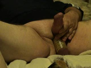 Me playing with toys and getting 11 Metal Rings onto and off my balls. Vibrating Wand made me cum quick. Wanted to fuck my Fleshlight with my ringed balls but just to big. Want to try on GF, any idea's on who or what I could fuck with my ringed balls??
