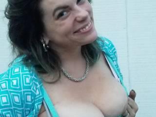 Patio boobies!