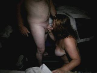 Wife at a local hotel sucking a guy she met at a swingers meet and greet just 2 hours earlier.  She loves sucking and fucking guys.  I (hubby) always encourage her to enjoy herself.  Love to watch and film her having fun.