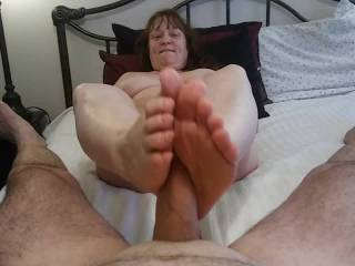 Giving my man a Foot job always ends with his wonderful cum over my feet. Eatch me get every drop of his love juice out of that lovely rod of his. Mmm...
