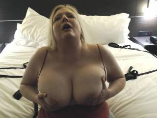 Bouncing my big tits to make me cum!  I take my tits out to get off... is it cool to cum only from bouncing my big tits?
