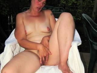 I got myself really horny fingering myself on our patio. I need a hard dick now!