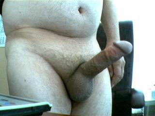 Very nice shot of your huge cock there stud, big thick and hard a real mouthful!