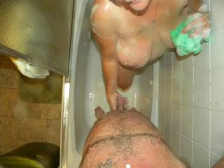 Awesome hot pic!  Shower play is soooooooo much fun and great foreplay I would luv to join you for hours and hours of hot erotic adventures!