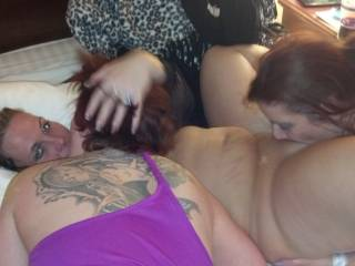my wife having fun with two awesome women