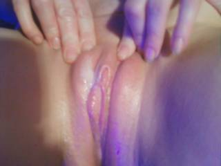 pretty pink swollen dildo fucked pussy covered in deep action girl cum