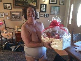 She is gorgeous, and what a great smile too, looks like she enjoyed her Valentines Day gift, I love her big panties, she just  looks so sexy in them.