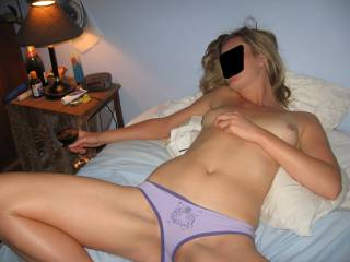 Love them panties just covering her pussy and her legs open, waiting to be used......