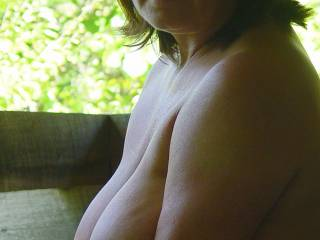 wife showing off her wonderful real tits...she has really nice nipples