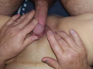 Me sliding my young cock across my 68 yo mature pussy and her trying to get it inside of her as quickly as possible