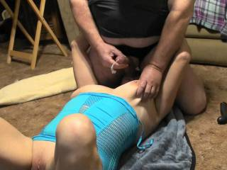 We were just enjoying a lazy Sunday afternoon and once I was sucking on his balls it wasn\'t long before he shot his load all over me. I was amazed at just how far he shot that cum. Where would you like to be sprayed with that load? Want to see the video?