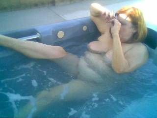 Me getting off on our hot tub jets.  Our hot tub is one of my favorite toys!