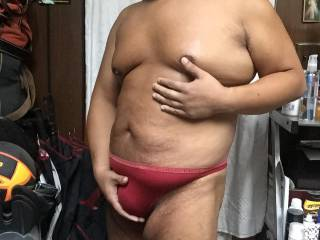 red thong bulge full body