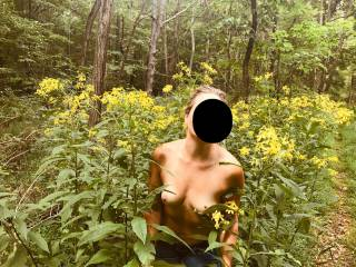 During our walk, she took her top off and said take my pic.  I love how carefree she is and sex in the outdoors.... It was amazing!