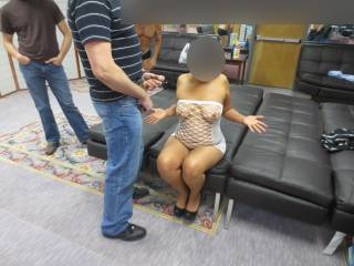 I blindfolded her and told her she was getting some visitors...I made sure she was dressed properly.