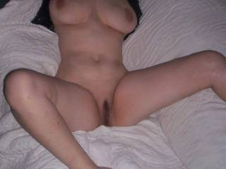 Just you, you're gorgeous body, your big suckable tits, and your sweet white needs to be fucked hard by a black cock pussy!!!