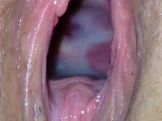 I would love you to sit on my face so I could lick out & swallow every bit of the cum & pussy juice.  Yummy