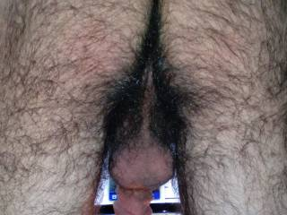 That is one very hairy very sexy ass... I would love to bury my face in there