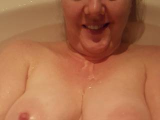 Perky nipple time in the tubby... care to join me?