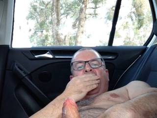 Masturbating my cock in my car. Do you want me to masturbate until I cum for you? Let me know and I will