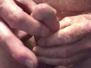 Pumping my cock.