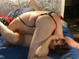 With my tongue in her ass, my cock in her mouth, and her vibrator rubbing my ass. It was a good day