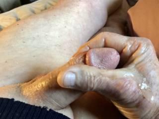 Cock stroking produces massive ejaculation.