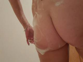 Soapy hot ass on her.