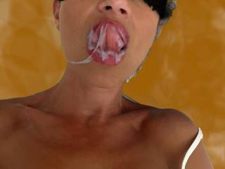 he filled up all my mouth... I love mixed up sperm and saliva that drip slowly around my full lips... would you like to watch me moaning while I\'m spreading it all over with my tongue... true?